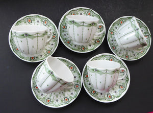 Pretty 1930s ART NOUVEAU USSR Lomonosov Porcelain. Set of Five Cups and Saucers. First Quality Issues