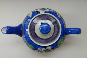 SCOTTISH POTTERY. Rare MakMerry Hand-Painted Teapot with White Prunus Blossoms and Blue Background. Excellent Condition