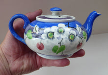 Load image into Gallery viewer, SCOTTISH POTTERY. Rare MakMerry Hand-Painted Teapot with White Prunus Blossoms and Blue Background. Excellent Condition