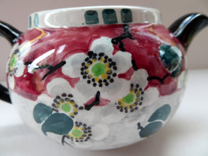 SCOTTISH POTTERY. Rare MakMerry Hand-Painted Teapot with White Prunus Blossoms and Pink Background. Excellent Condition