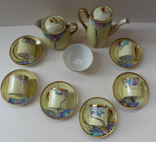 Load image into Gallery viewer, SCOTTISH POTTERY. Scottish Lady Decorator / Painter. 1920s Art Nouveau Decorated Coffee or Teaset on P.A.L.T Czechoslovakian China Blanks