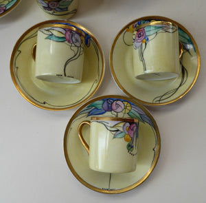 SCOTTISH POTTERY. Scottish Lady Decorator / Painter. 1920s Art Nouveau Decorated Coffee or Teaset on P.A.L.T Czechoslovakian China Blanks