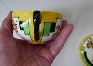SCOTTISH POTTERY. 1930s BOUGH Pottery. Rare Twin Handled Dish & Cover - with Matching Stand. Richard Amour; Dated 1939