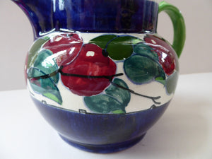 SCOTTISH POTTERY. Large Bough Pottery Jug. Hand Painted Rosy Red Apples by Richard Amour; 1920s