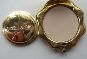 Adorable ESTEE LAUDER Miniature Pressed Powder Compact. Rarer Abstract Design Set with Enamels and Crystals. Excellent unused condition
