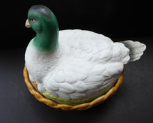 Load image into Gallery viewer, Rare ANTIQUE Staffordshire Bisque DUCK on a NEST. Victorian era; and in excellent condition