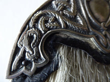 Load image into Gallery viewer, ANTIQUE Scottish Miniature Horsehair Sporran for a Child with Celtic Dragon Decorated White Metal Mantle