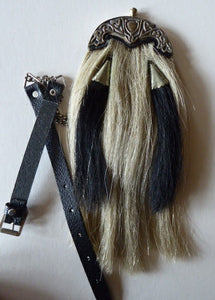 ANTIQUE Scottish Miniature Horsehair Sporran for a Child with Celtic Dragon Decorated White Metal Mantle