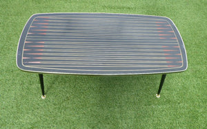 1950s Glass Top Abstract Coffee Table