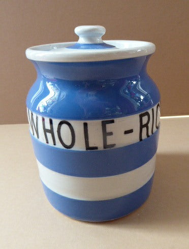 1930s Rarer Lettering: WHOLE RICE TG GREEN Cornishware Storage Jar: Early Green Church Mark