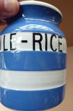 Load image into Gallery viewer, 1930s Rarer Lettering: WHOLE RICE TG GREEN Cornishware Storage Jar: Early Green Church Mark