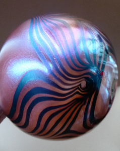 JOHN DITCHFIELD GLASFORM Globular Vase. Pink with Gold Lustre and Feathered Stripe Trails. Signed and with Paper Label