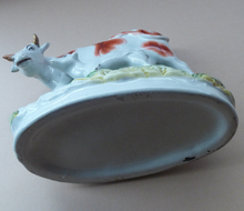 Load image into Gallery viewer, ANTIQUE STAFFORDSHIRE Figurine. Large Cow with her White Calf on Raised Oval Base; 1880s