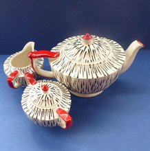 Load image into Gallery viewer, Very Rare Zebra Stripe Sadler Three Piece Teaset. Large Teapot, Rare Lidded Sugar Bowl, and Milk Jug