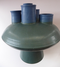 Load image into Gallery viewer, Brutalist Art Pottery Sculptural Flying Saucer Vase