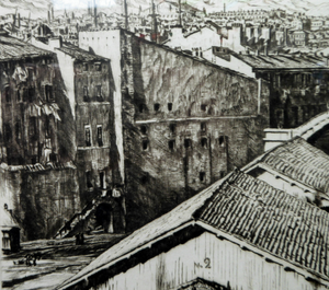 SCOTTISH Art. Original Etching / Drypoint by MUIRHEAD BONE (1876-1953). Railway Sheds, Marseilles; 1937. Pencil Signed