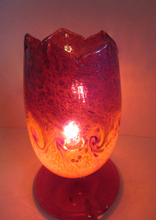 Load image into Gallery viewer, 1950s Scottish VASART Glass Tulip Lamp in Swirly Scarlet Red and Black Shades. WORKING