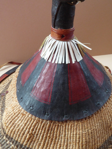 Vintage AFRICAN (Ghana) Woven Straw & Leather FULANI Hat with Straps. Nice, clean condition