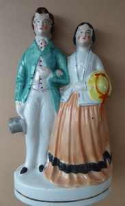 STAFFORDSHIRE FIGURINE. Miniature Model of the Prince and Princess of Wales
