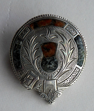 Load image into Gallery viewer, Antique SILVER BROOCH. Simple Cap Brooch Inset with Agates. Sweet Scottish Thistle Decoration