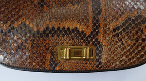 1950s Snakeskin & Leather Bag by Zimmerman Ltd, Taxidermists, Nairobi. Top Quality Vintage Bag with Extending Shoulder Handle