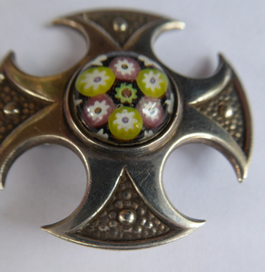 Vintage 1970s Silver Hallmarked Maltese Cross Shaped Brooch - with Caithness Glass Paperweight Miniature