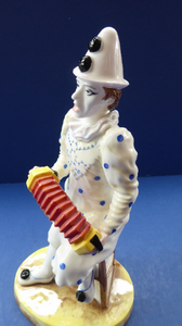 Fine Coalport PIERROT Figurine. White Faced Serenade from the Cavalcade of Clowns Series. Bone China
