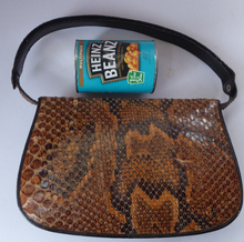 Load image into Gallery viewer, 1950s Snakeskin & Leather Bag by Zimmerman Ltd, Taxidermists, Nairobi. Top Quality Vintage Bag with Extending Shoulder Handle