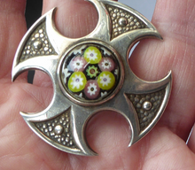 Load image into Gallery viewer, Vintage 1970s Silver Hallmarked Maltese Cross Shaped Brooch - with Caithness Glass Paperweight Miniature