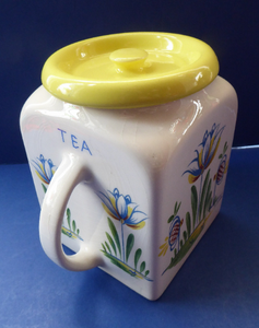 1950s BRISTOL POTTERY Kitchen Canister or Storage Jar. Vintage Old Delft Tulip Design with Carrying Handle. TEA