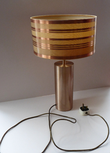 Load image into Gallery viewer, 1960s Vintage Table Lamp with Tubular Gold Tone Metal Cylindrical Body and Original Metallic Stripes Drum Shade