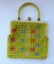 Load image into Gallery viewer, GOOD QUALITY Vintage 1960s Yellow Coloured Beaded Evening Bag - with Fine Gold Tone Clasp and Pair of Beaded Handles