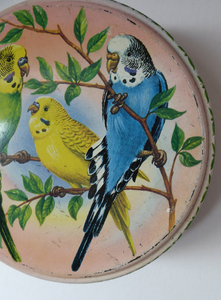 Peek Freans Round Biscuit Tin with Budgie Design