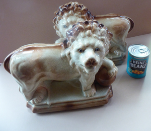 LARGE PAIR of ANTIQUE Staffordshire Style Medici Lions with front paw on ball. 14 inches in length