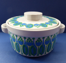 Load image into Gallery viewer, Rarer Granada Pattern: Vintage Norwegian FIGGJO FLINT Cassrole Dish with Minimalist Decoration of Blue & Green Polka Dots