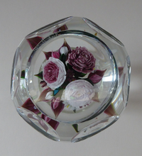 Load image into Gallery viewer, Rare RICK AYOTTE Limited Edition 1995 Cusion Cut Paperweight: Floral / Roses
