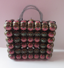 Load image into Gallery viewer, Vintage Handbag Made of Recycled Beer Bottle Caps