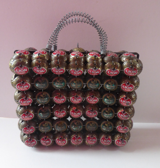Vintage Handbag Made of Recycled Beer Bottle Caps