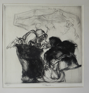 ORIGINAL 1920s Etching & Drypoint by EDMUND BLAMPIED (1886 - 1966). The Market Argument. Signed in ink