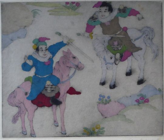 ORIGINAL DRYPOINT Etching / Woodblock Print by Elyse Ashe Lord (British, 1900–1971). Chinese Warriors on Horseback. Pencil Signed