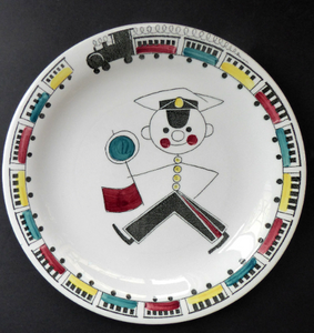 SWEDISH Plate. Rare Rorstrand TUFF TUFF Plate. Quirky Railway Imagery. Signalman and Trains Around the Rim