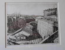 Load image into Gallery viewer, SCOTTISH Art. Original Etching / Drypoint by MUIRHEAD BONE (1876-1953). Railway Sheds, Marseilles; 1937. Pencil Signed