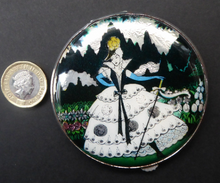 Load image into Gallery viewer, 1930s LARGE Gwenda Tap Flap Powder Compact with Foil Image of Glamourous Lady in a Crinoline Dress. Excellent Vintage Condition