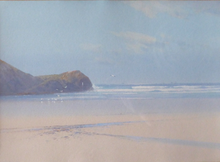 Load image into Gallery viewer, Frederick John Widgery (1861-1942). Original Watercolour Painting of the Beach at Newquay in Cornwall