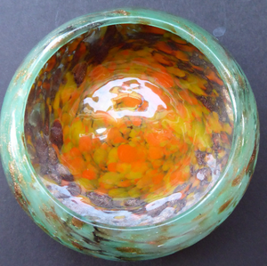 RESERVED Wee SCOTTISH MONART GLASS Shallow Pin Dish. Mottled Orange, Blue-Green and Brown Glass with Gold Aventurine & Customary Raised Pontil Mark