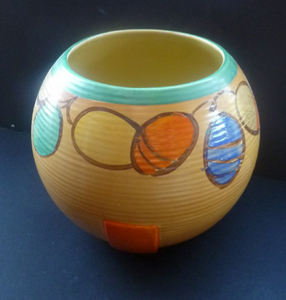MYOTT POTTERY Ball Vase. Stunning & Exceptionally Large 1930s Art Deco Art Pottery. Hand Painted