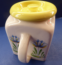 Load image into Gallery viewer, 1950s BRISTOL POTTERY Kitchen Canister or Storage Jar. Vintage Old Delft Tulip Design with Carrying Handle. No Lettering