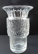 Load image into Gallery viewer, Vintage Clear Glass Vase with Trumpet Shaped Rim and Dimpled Neck; Probably Czech Sklo