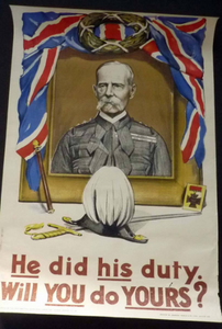 GENUINE Antique WWI Recruitment Poster: He did his Duty. Will you do Yours? Original Lithograph; published 1916