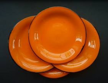 Load image into Gallery viewer, POWOLNY. Four LOETZ TANGO Glass Art Deco Fruit Plates: with Black Trailed Glass Rim c 1920s